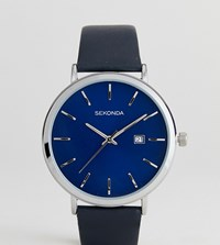 Sekonda Black Leather Watch With Silver Dial Exclusive To Asos Black