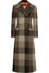 Etro Embellished Jacquard Trimmed Plaid Wool Coat Army Green