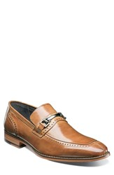 Stacy Adams Tanner Brogued Bit Loafer Tan Leather