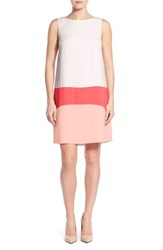 Women's Halogen Colorblock Shift Dress Ivory Coral Pink Colorblock
