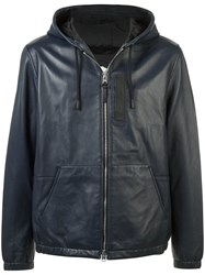 Coach Hooded Leather Jacket Blue