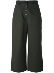 Proenza Schouler High Waisted Cropped Trousers Green
