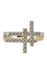 Bony Levy 18K White Gold And Gold Diamond Dual Cross Ring 0.37 Ctw Size 6.5 Metallic