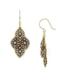 Miguel Ases Beaded Four Leaf Drop Earrings Gold Silver