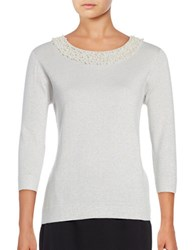 Karl Lagerfeld Embellished Metallic Sweater Oyster