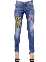 John Richmond Sequined Inserts Cotton Denim Jeans