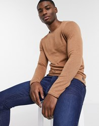 Tom Tailor Crew Neck Knitted Jumper With Rolled Edges Beige