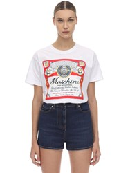 Moschino Oversize Printed Cotton Jersey T Shirt White