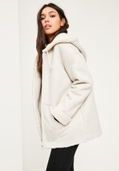 Missguided Grey Zip Through Faux Shearling Jacket White