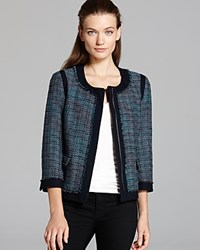 Adrianna Papell Cropped Tweed Jacket Blue Multi