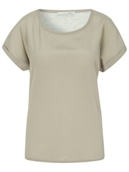 Oui Crepe Woven Front T Shirt Light Brown Grey