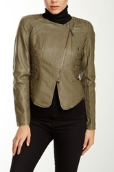 Fillmore Faux Leather Military Moto Jacket Green