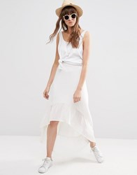 Asos Midi Skirt With Contrast Woven Hem White