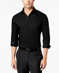 Alfani Men's Slim Fit Stretch Long Sleeve Shirt Created For Macy's Deep Black