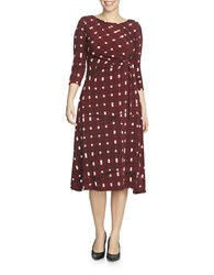 Chaus Plaid Wires Faux Wrap Dress Russet Red