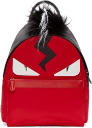 Fendi Red And Black Fur Trimmed Monster Backpack