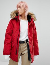 Carhartt Wip Oversized Anchorage Parka Jacket With Faux Fur Hood Blast Red Black
