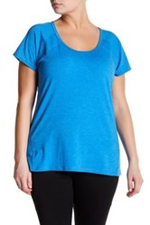 Z By Zella Scoop Neck Seamed Tee Plus Size Blue