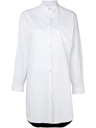 Paul Smith Button Down Shirt Dress Women Silk Cotton Spandex Elastane 40 White