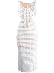 Genny Structured Caged Dress White