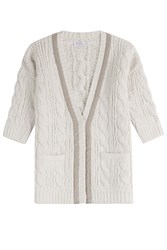 Brunello Cucinelli Cable Knit Short Sleeve Cardigan White