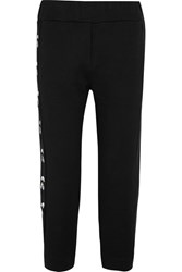Fendi Karlito Embroidered Printed Cotton Jersey Track Pants Black