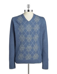Black Brown Argyle V Neck Sweater Flint Blue