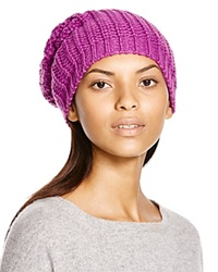Aqua Chunky Knit Solid Slouchy Hat Orchid