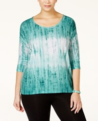Styleandco. Style And Co. Plus Size Tie Dyed Three Quarter Sleeve Top Only At Macy's Pacific Aqua Combo
