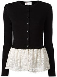 Red Valentino Lace Detail Buttoned Cardigan Black
