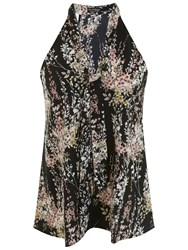 Miss Selfridge Willow Print Tie Neck Shell Top Black Multi