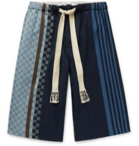 Loewe Wide Leg Logo Embroidered Striped Cotton Drawstring Shorts Blue