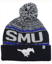 Top Of The World Southern Methodist Mustangs Acid Rain Pom Knit Hat Heather Gray Black Blue
