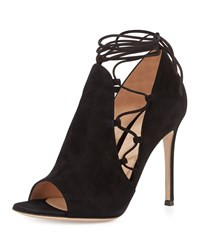 Side Lace Up Peep Toe Bootie Black Gianvito Rossi