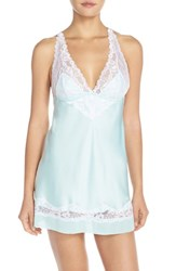Women's Black Bow 'Muse' Lace And Satin Backless Chemise Bridal Blue