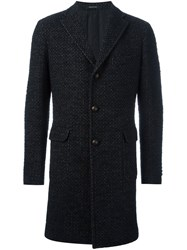 Tagliatore Single Breasted Tweed Coat Black