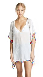 Bindya Caftan With Pom Poms White