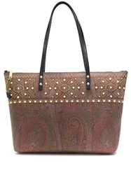 Etro Studded Paisley Tote Brown