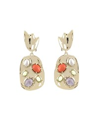 Alexis Bittar Sculpted Stone Cluster Clip On Earrings Gold
