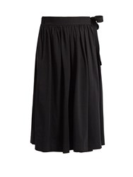 Christophe Lemaire Cotton Jersey Wrap Skirt Black