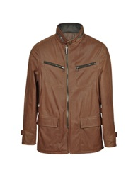 Forzieri Brown Leather Zippered Jacket