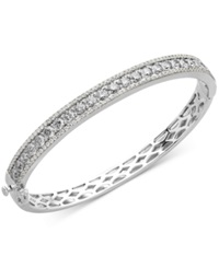 Arabella Sterling Silver White Swarovski Zirconia Bangle Bracelet 9 1 3 Ct. T.W