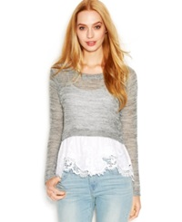 Maison Jules Mixed Media Lace Hem Top