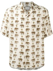 Gucci Elephant Print Bowling Shirt Nude Neutrals