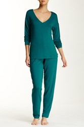 Josie Brushed Jersey Pajama Set Green