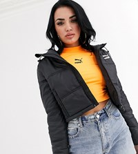 Puma Cropped Puffer Jacket Black
