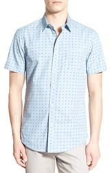 Men's Ben Sherman Trim Fit Short Sleeve Square Print Woven Shirt Sky Blue