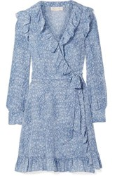 Michael Michael Kors Ruffled Printed Silk Crepe De Chine Mini Wrap Dress Blue
