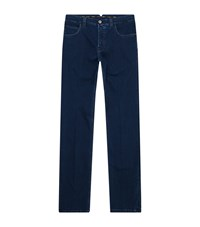 Stefano Ricci Embroidered Pocket Jeans Blue