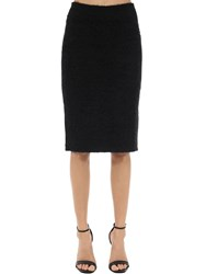 Versace Mohair Blend Knit Pencil Skirt Black